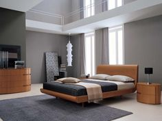 grey walls with wood furniture contemporary beds and modern bedroom decorating ideas in contemporary style