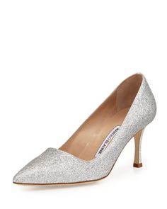 BB Glitter 70mm Pump, Silver (Made to Order) by Manolo Blahnik at Bergdorf Goodman.
