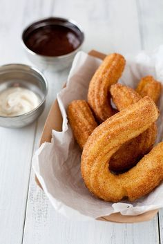 Churros (with chocolate dipping sauce) from Annie's Eats