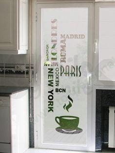 Vinil decorativo esmerilado con texto y taza de café para puerta o ventana de… Frosted Glass Design, Cafe Door, Office Graphics, Esthetician Room, Verre Design, Window Signs, Interior Work, Restaurant Design, Door Design