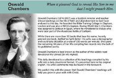 Oswald Chambers 1874 - 1917 Scottish Minister and Teacher