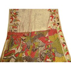 Vintage India Art Silk Embroidered Saree Fabric Sarong Craft Deco Beige Sari
