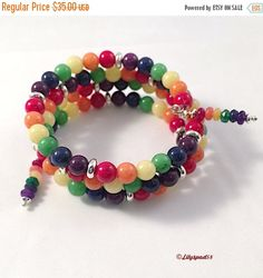 Christmas in July Rainbow Jade Beaded Bracelet, Gift for Her, Bohemian, Natural Stone, Birthday, Mothers Day, Holiday, Bridal, Christmas