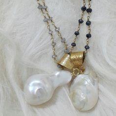 #Huge #BaroquePearl #Labradorite #BlackSpinel #Bronze24k #perfectlayernecklace #classic #pearlfection
