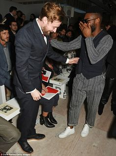 Top marks: Ricky and Tinie appeared to have a mutual appreciation for each-other's fashion...