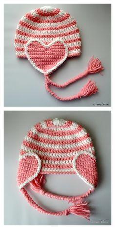 Crochet de coeur de Valentine Earflap Hat Patron Gratuit