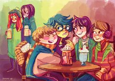 The Marauders and Snape and Lily at Three Broomsticks and James is mad about everything by jununy