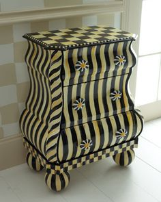 """""""Courtly Stripe"""" Bombay Chest by MacKenzie-Childs at Neiman Marcus."""