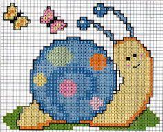 me wp-content uploads 2014 07 caracol-em-ponto-cruz. Cross Stitch For Kids, Cute Cross Stitch, Cross Stitch Cards, Beaded Cross Stitch, Cross Stitch Animals, Counted Cross Stitch Patterns, Cross Stitch Designs, Cross Stitching, Cross Stitch Embroidery