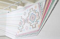 Gorgeous carpet motif installation done in heavy thread ~ artist Faig Ahmed