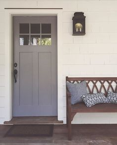 Our new front door color reveal: Cinder by Benjamin Moore. The color was a bit. - Our new front door color reveal: Cinder by Benjamin Moore. The color was a bit… Our new front door color reveal: Cinder by Benjamin Moore. The color was a bit… - Doors, Exterior Doors, House Exterior, House Colors, Grey Front Doors, House, Painted Front Doors, Home Decor, Yellow Living Room