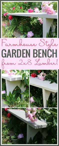 Easy Farmhouse Bench. Learn How To Turn Two Pieces Of Lumber Into An Outdoor Farmhouse Style Bench In A Few Simple Steps!