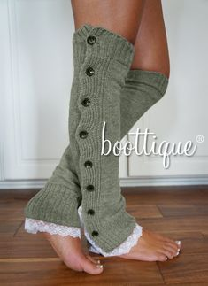CLOSEOUT Boot Cozies in London Fog: Lace and by BoottiqueInc