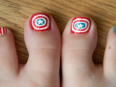 Captain America Toe Nail Design on 30 Amazing Cute Toe Nail Designs - http://www.naildesignsforyou.com/30-amazing-easy-cute-toe-nail-designs/ #toenails #toenail #toenaildesigns #toenailart #naildesigns #nailart