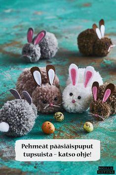 Pääsiäispupujen teossa voi käyttää kaikenlaisia villalankoja. Lankojen paksuutta vaihtamalla pupuista saa helposti yksilöllisen näköisiä. #meilläkotona #meilläkotonafi #pääsiäinen #pääsiäisaskartelu #pääsiäispupu #tupsupupu #tupsuaskartelu #pääsiäisaskartelualapsille Too Cool For School, Projects To Try, Weaving, Barn, Easter, Converted Barn, Easter Activities, Loom Weaving, Crocheting