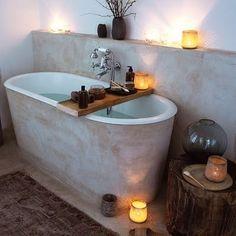 concrete covered bathtub