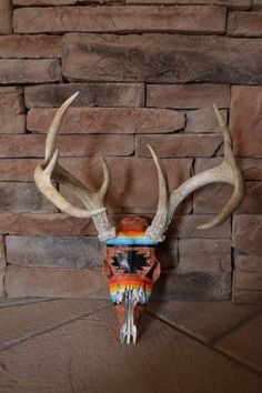 Painted Deer Skull Tribal by IndianCreekCreations on Etsy