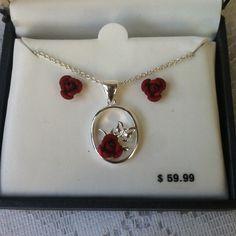 New Silver Plate Rose Necklace & Earrings Set new in box. Jewelry Earrings