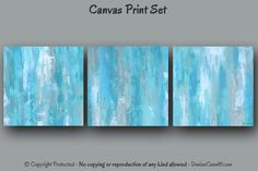 office wall paintings. 3 Piece Wall Art, Teal Blue Abstract, Large Painting, Multi Panel Canvas Print Set, Tan Gray Teal, Oversized Artwork, Office Decor, Bedroom Paintings E