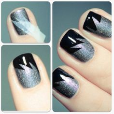 Tape method French black tip nails! Don't know the owner!