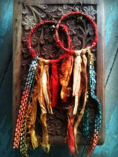 AUTUMN a pair of Sari Silk wrapped hoop earrings by TheGypsyRebel, $30.00