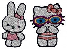 At the Beach Kitty Embroidery Design brother pe180d white embroidery machine cards