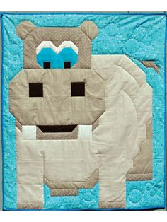 This cute hippo is the perfect gift for your favorite little one! The big hippo and plain background make this a quick and easy pattern. Finished sizes: Wall Hanging: 24 x 28 Crib: 36 x 42 Lap Throw: 48 x 56 - Dianes Crafting Cute Quilts, Baby Quilts, Quilting Tips, Quilting Designs, Modern Quilt Blocks, Cute Hippo, Plains Background, Animal Quilts, Elephant Pattern