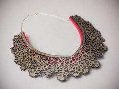 Hendrika Necklace Laser Cut Wood and Acrylic por CollectedEdition, $55.00
