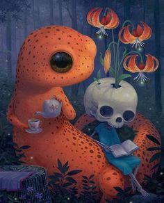 Artist: Thomas A. Scott Macabre Art, Lowbrow Art, Pop Surrealism, Garden S, Late Nights, Dark Side, Original Artwork, Whimsical, Tea