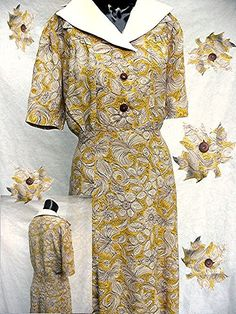 1930s 40s Rayon Dress 30s 1940s Yellow Print Day by bonitalouise, $96.00