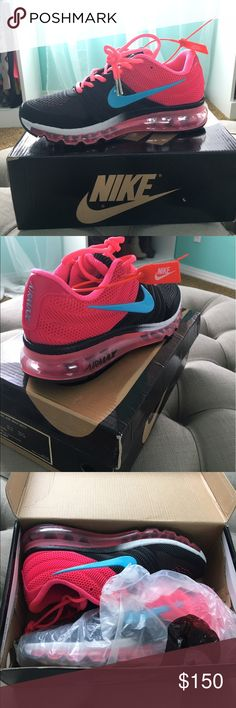 NWT- Nike Air max 2017 Never worn-- pink and black air max 2017. Comes with tags and original packaging. Box says 7 shoes are an 8-- was a gift but too big for me. 💗🖤open to offers Nike Shoes Athletic Shoes