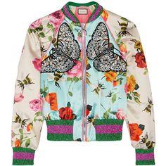 Gucci Gucci - Appliquéd Printed Silk-satin Bomber Jacket - Sky blue