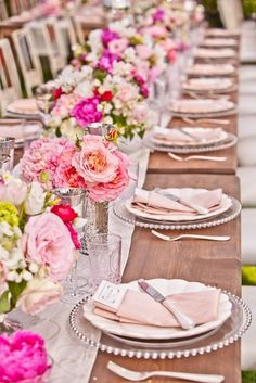 blush wedding reception  Ignore the flowers. I like what they did with the Dinnerware!