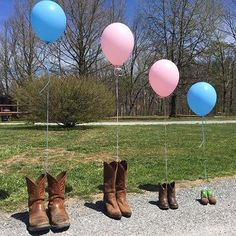 Family Shoes With Colored Balloons for Gender Reveal Idea