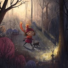 The forest at dawn - new experimental painting technique #forest #illustration painting #digital #art #girl #cute #atmospheric #lighting #trees #bunny #dog #winter #dawn #sunrise #art