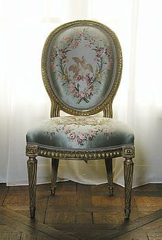 Furniture Classic: Jean-Jacques Pothier (Master Active Until c - Side Chair [One Of A Pair, Carved Gilded Beechwood, Silk Moire Upholstery] (c Victorian Furniture, French Furniture, Antique Furniture, Painted Furniture, Sillas Chippendale, Furniture Styles, Furniture Design, Decoration, Art Decor