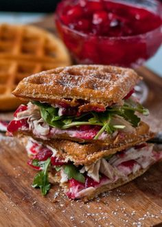 Waffled Cranberry Cream Cheese Turkey Sandwiches #Recipe #Turkey #Delicious