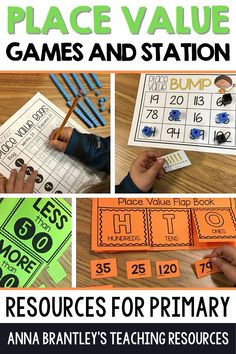 Place value is such an important foundational math skill to teach your elementary students. Here I am sharing some of my favorite interactive, hands-on activities and games to practice place value. Your students will love playing engaging place value games such as Four in a Row, Spin and Match, and more!