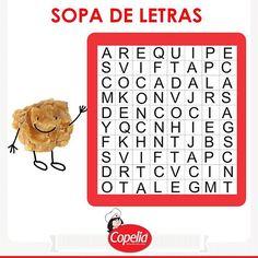 ¡Pulgar arriba (y) si encuentras las palabras: cocada, conchita y arequipe en menos de 40 segundos! #DiviérteteConCopelia www.alimentoscopelia.com