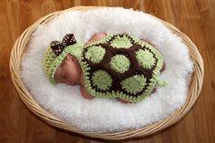 Precious Crochet Newborn Turtle Photo Prop