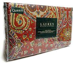 Ralph Lauren Red Blue Green Boho Paisley 3pc Queen Duvet Cover and Shams Set Floral Paisley Medallions