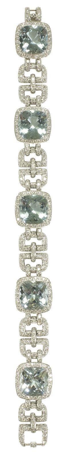 Asprey Windsor Bracelet, Aquamarine. Windsor Bracelet in aquamarine with pavé diamonds and amethysts, set in 18ct white gold.