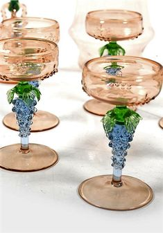 Decanter and 12 glasses by Bimini Werkstätten Wien 1920s-1930s. Decoration with grapes. In beautiful pastel colors. Vienna, Austria, Tableware, Beautiful, Dinnerware, Tablewares, Dishes, Place Settings