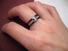 Doubled forged and oxidized black iron Ring  by daganigioielli, $47.80