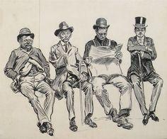 Charles Dana Gibson - Drawing: Four men sitting on...