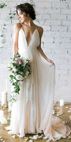Simple Deep V-neck Sweep Train Ivory Wedding Dresses With Straps Simple wedding gowns Long Gown For Wedding, Chiffon Wedding Gowns, Wedding Dresses With Straps, Wedding Dress Chiffon, Sexy Wedding Dresses, Cheap Wedding Dress, Wedding Dress Styles, Bridal Dresses, Bridal Gown