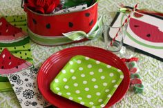 watermelon party- it would be easy to paint something like the bucket in the back, maybe for holding silverware.