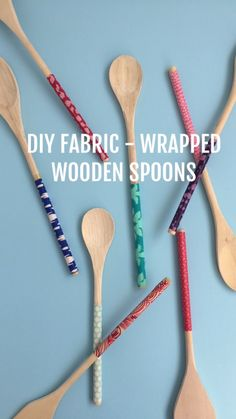 DIY Fabric Wrapped Wooden Spoons