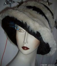 chapeau chic hiver grand froid noir irisé gris par MatheHBcouture