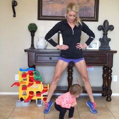 """""""Inner Thigh Workout! double tap & tag your partner perform 15 reps each exercise for a total of 5 sets! (Logan is starting to copy me doing squats)…"""""""